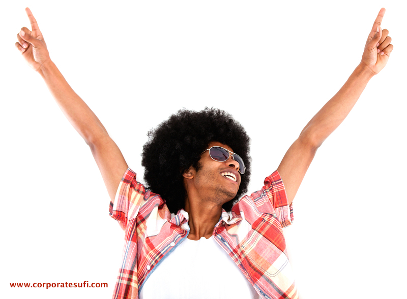 Excited black man looking cool with arms up - isolated over a white background